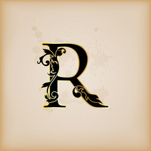 Vintage lettre initiales r