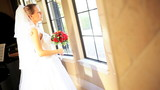 Young Blonde Bride White Dress Veil