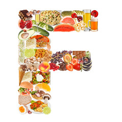 Letter F made of food