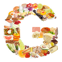 Letter G made of food