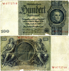 100 Reichsmarks (RM): the currency in Germany from 1924