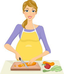 Pregnant Woman Preparing a Meal
