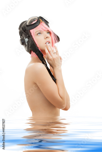 topless pink hair girl in aviator helmet