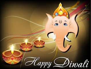 abstract diwali card with ganesh ji