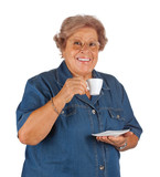 Smiling Grandmother with espresso