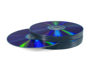 Pile of optical discs (CD, DVD or Blu-ray) isolated on white