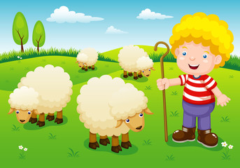 illustration little shepherd vector