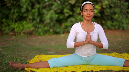 Outdoor yoga meditation exercise in nature