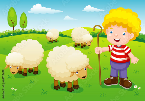 Foto op Canvas Boerderij illustration little shepherd vector