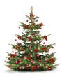 Weihnachtsbaum mit Rotem Christbaumschmuck