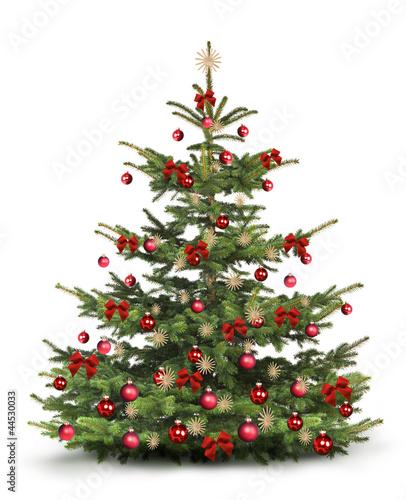 weihnachtsbaum mit rotem christbaumschmuck stockfotos. Black Bedroom Furniture Sets. Home Design Ideas