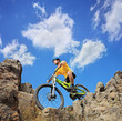A person riding a mountain bike on a sunny day