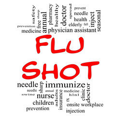 Flu Shot Word Cloud Concept in red & black