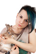 Teen and rabbit
