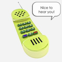 yellow shiny old handset phone call illustration