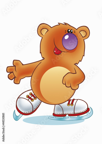 Teddy bear on ice skates