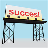 succes billboard clear panel on black construction