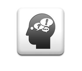 Boton cuadrado blanco simbolo pensamiento