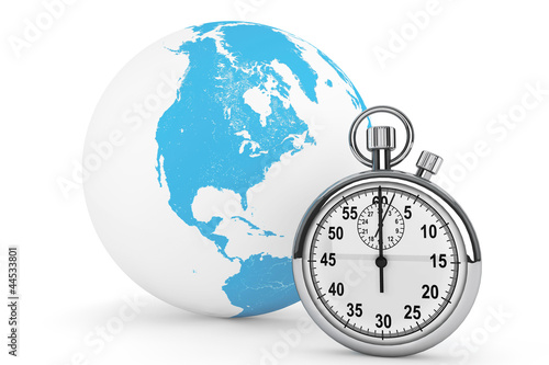 Fast delivery concept. StopWatch with Globe