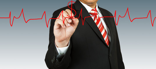 Businessman draw a pulse