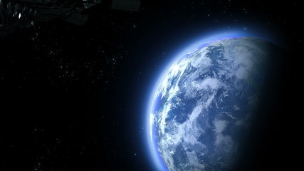 UFO flies to the Earth, 3d animation