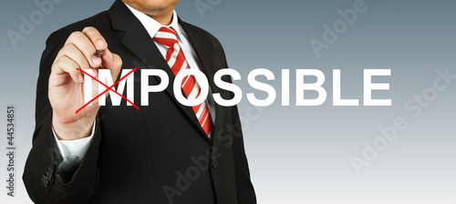 Motivation concept, transforming word impossible into possible
