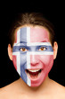 girl with norwegian flag painted on her face