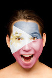 girl with Philippines flag painted on her face