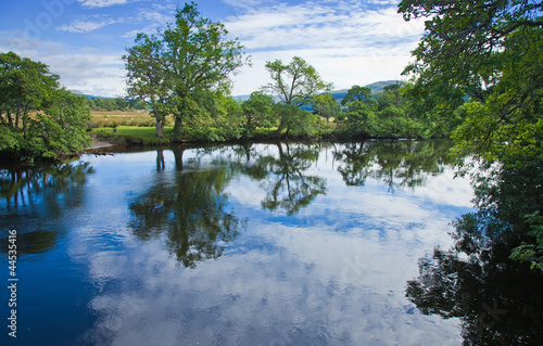 Scotland, summer landscape, river  Lochay close to its confluenc