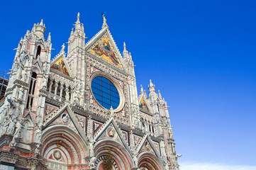 The upper part of the church in Siena.