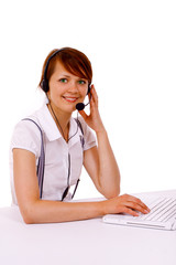 Woman with headset during work