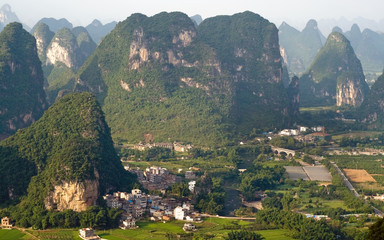 Guilin village at sunset from Moon Hill mountain