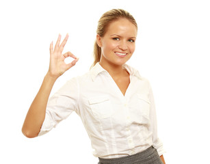 girl doing the okay sign and smiling