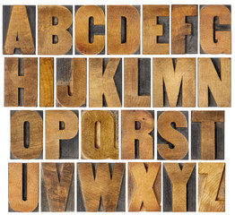 antique alphabet set in wood type