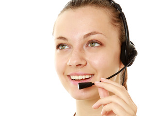 A friendly customer service girl with a headset