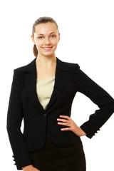A portrait of a businesswoman, standing