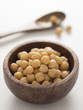 close up of a bowl of chickpeas