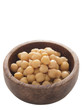 close up of a bowl of chickpeas isolated