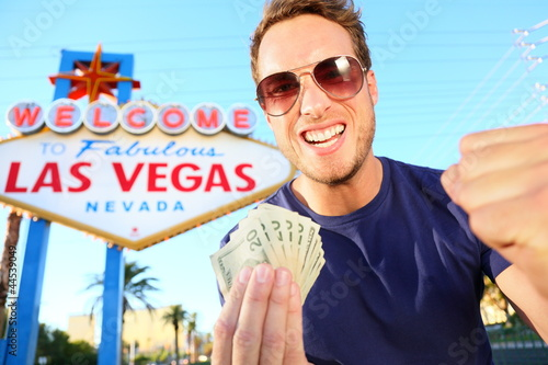Fototapeta Las Vegas man winning money