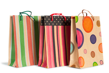 paper shopping gift bag isolated