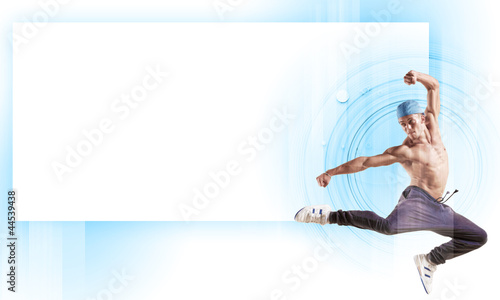 young man dancing hip hop with color lines