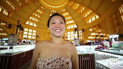 Young Asian girl shopping phnom penh central market
