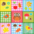Autumn background with leaves,acorns,birds and owl