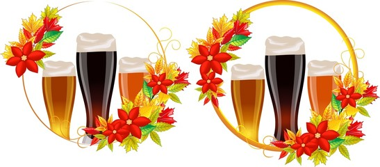 Autumn leaves, beer