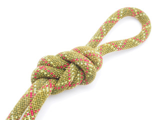 climbing rope on a white background
