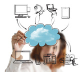 Business woman drawing a Cloud Computing