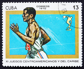 Postage stamp Cuba 1970 Running