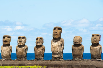 Moais in Ahu Tongariki, Easter island, Chile