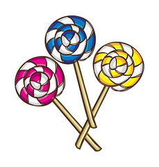 colorful lollipop in doodle style
