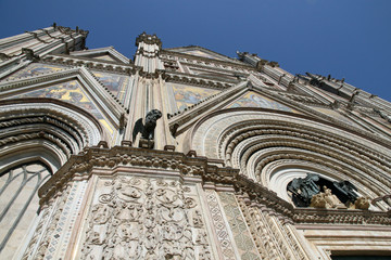 beautiful Cathedral of orvieto with statues